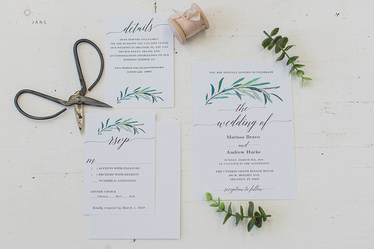 Al Fresco Lakeside Wedding invitation suite shot by orlando wedding photographer