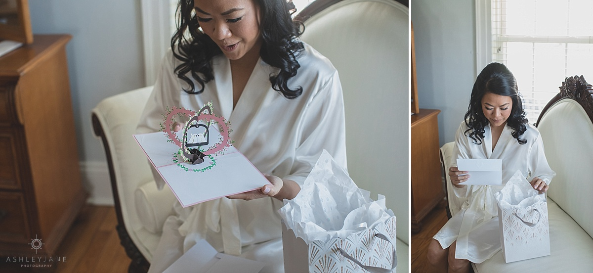 Bride reading her letter from her fiance on er wedding day shot by orlando wedding photographer