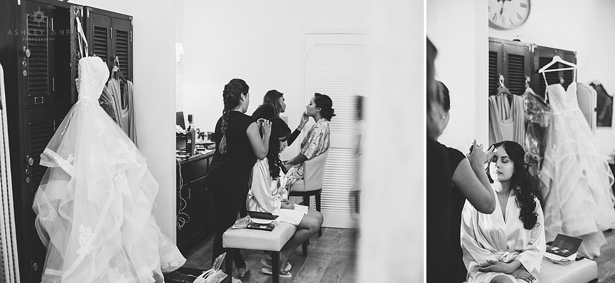 Bride and bridal party getting their make up done on their wedding day shot by orlando wedding photographer