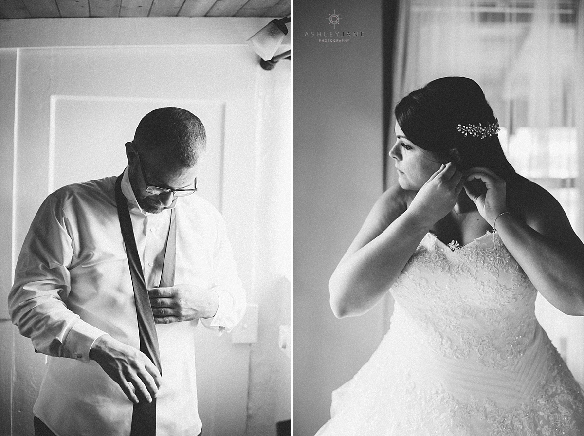 Black and white image of bride and groom getting ready for their wedding day shot by orlando wedding photographer
