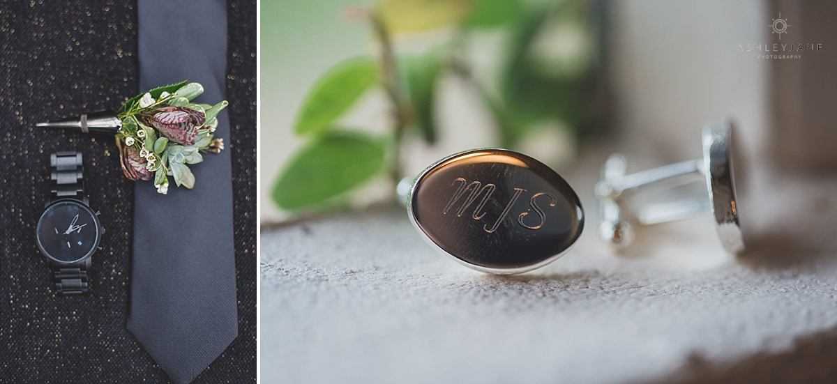 Monogrammed cufflinks for the men's accessories shot by orlando wedding photographer