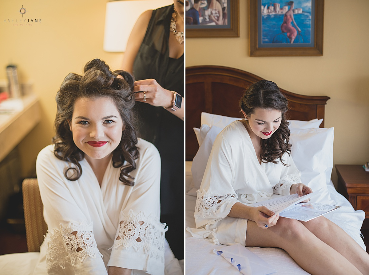 Bride getting ready and reading a letter from her groom shot by orlando wedding photographer