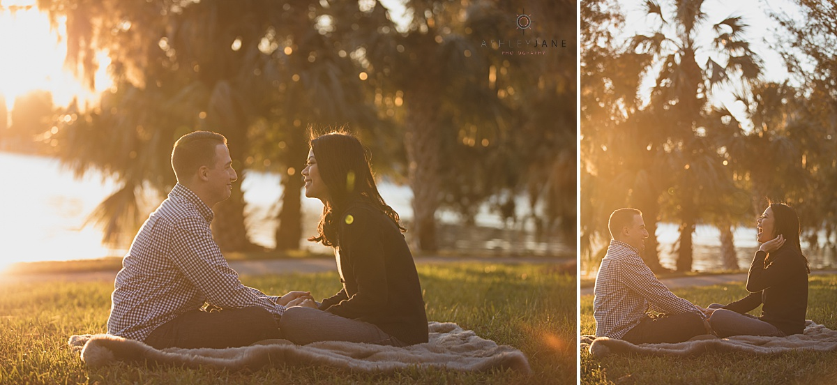 Couple laying on the lawn during sunset of cypress grove estate park shot by orlando wedding photographer