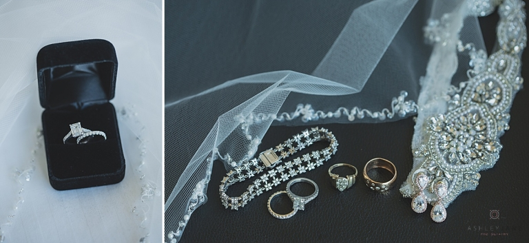 Emerald solitaire engagement ring and shot of bridal accessories captured by orlando wedding photographer