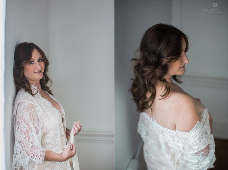 Two images in both woman is wearing gorgeous lace robe. In one image she is standing untying the robe in the second image she has it draped around her shoulder. Images shot boudoir photographer in Orlando.